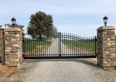 """16' Double Swing gate with finials and rings with a 6"""" bottom rail in Cape Girardeau, Mo"""